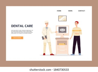 Dental care website banner template with dentist explaining plan of treatment to patient on modern advanced computer equipment, flat vector illustration.