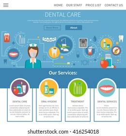 Dental Care Wev Site Page Design with Flat Elements Vector Illustration