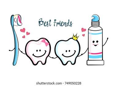 Dental Cartoon characters. Smiling teeth, toothbrush, toothpaste.