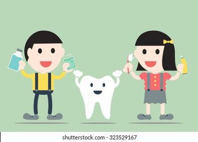 dental cartoon vector, boy and girl with healthy teeth