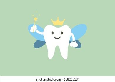 dental cartoon vector, cute healthy white teeth is tooth fairy