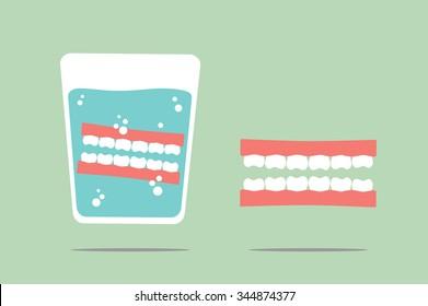 dental cartoon vector, denture in glass