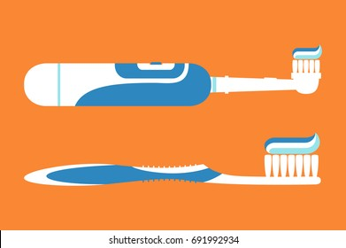 Dental cartoon vector, electric toothbrush with toothpaste for brushing teeth isolated on background, hello morning - flat style for design