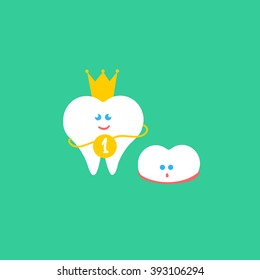Dental cartoon vector flat illustration. Kids teeth grow. Child tooth. First tooth with crown and medal and small growth milk tooth characters. Cute children dental health banner, card. Smile teeth