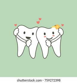 dental cartoon vector flat style for design - cute tooth couples in love and hug each other with heart