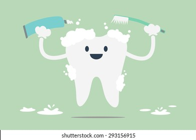 dental cartoon vector, tooth is brush the teeth