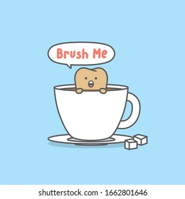 """Dental cartoon of a yellow tooth in glass of coffee saying """"brush me"""" illustration cartoon character vector design on blue background.  Dental care concept."""