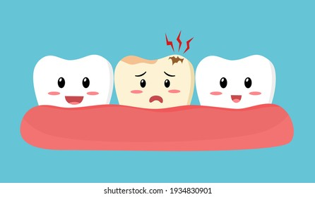Dental cavity concept.. Smiling healthy teeth with sad decay tooth cartoon in flat design. Dental problem. Toothache. Oral care.