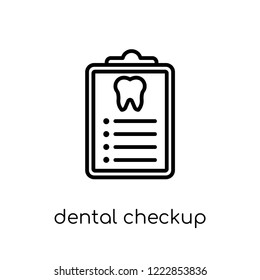Dental Checkup icon. Trendy modern flat linear vector Dental Checkup icon on white background from thin line Dentist collection, editable outline stroke vector illustration