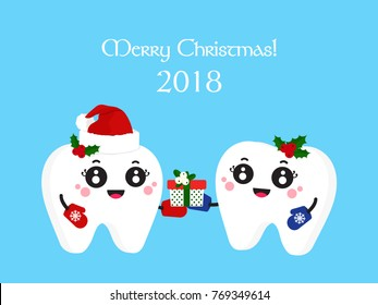 Dental Christmas poster. Funny Santa Claus gives tooth to another tooth in a small box with a gift. Flat design, vector illustration