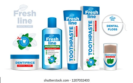 Dental cleaning tools. Oral care and hygiene products. Toothpaste, mouthwash, tooth powder.