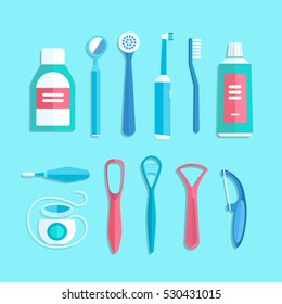 Dental cleaning tools. Vector illustration of oral hygiene products such as toothbrush, toothpaste, mouthwash, tongue brush, tongue scraper and dental floss, isolated on background.