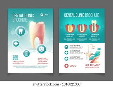 Dental clinic advertising brochure, poster cartoon vector pages template. Comfortable stomatology chair with lamp, healthy tooth, modern dental implants and crowns technology infographics illustration