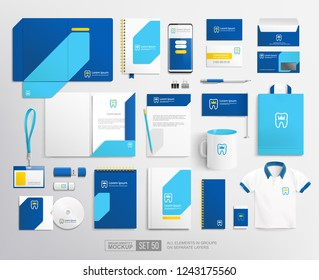 Dental Clinic brand identity template with concept logo tooth with crown. Dentistry and medical center corporate brand identity mockup template of stationery items. Flat line Tooth icon design