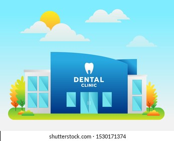 Dental clinic building. Teeth icon and logo with background, vector, illustration.