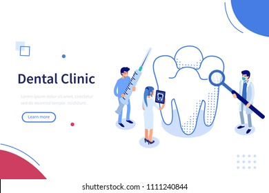 Dental clinic  concept banner with character. Can use for web banner, infographics, hero images. Flat isometric vector illustration isolated on white background.