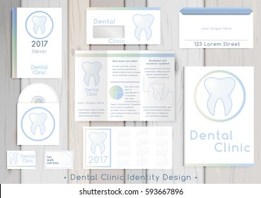 Dental Clinic corporate identity template design set. Documentation for business. Business stationery. Vector mock up. Company style for brandbook and guideline with colorful abstract logo.