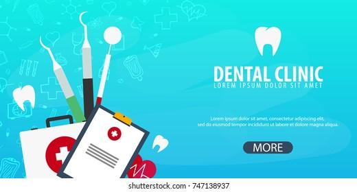 Dental clinic and Dentist. Medical background. Health care. Vector medicine illustration