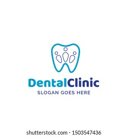 Dental clinic dentistry logo design with blue teeth and human shapes illustration