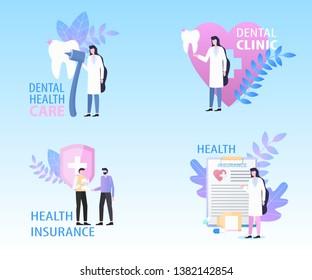 Dental Clinic Health Care Insurance Banner Set Vector Illustration. Insurance Protection Professional Medical Stomatology Treatment Doctor Checkup Service Money Financial Bill Return