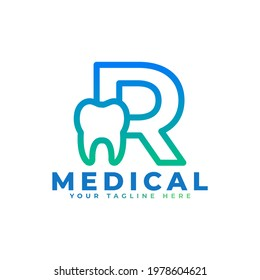 Dental Clinic Logo. Blue Linear Shape Letter R Linked with Tooth Symbol inside. Usable for Dentist, Dental Care and Medical Logos. Flat Vector Logo Design Ideas Template Element.