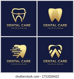Dental Clinic Logo With Luxurious Tooth Shape With Gold Color Accents Make This Design. Unique, Modern, Elegant, Mature