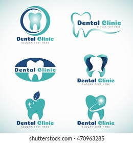 Dental Clinic logo sign vector set design