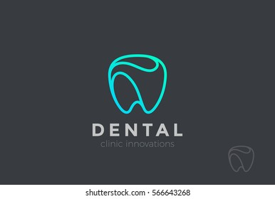 Dental Clinic Logo Tooth Abstract Design Vector Template Linear Style Dentist Stomatology Medical Doctor Logotype