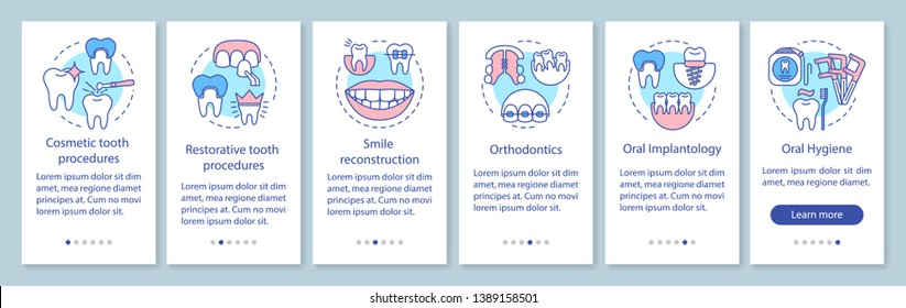 Dental clinic services onboarding mobile app page screen with linear concepts. Treatment, restoration of teeth walkthrough steps graphic instructions. UX, UI, GUI vector template with illustrations