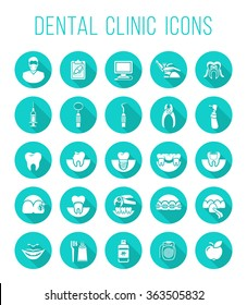 Dental clinic services, stomatology, dentistry, orthodontics, oral health care and hygiene, tooth restoration, instruments and tools. Flat vector icons set. Logo, pictogram, infographic element