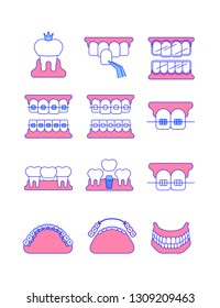 Dental clinic surgery services thin line vector icons. Dental implant, bridge, veneer, crown concepts. Orthodontic treatment such as metal, ceramic, lingual, plastic braces. Removable denture symbol