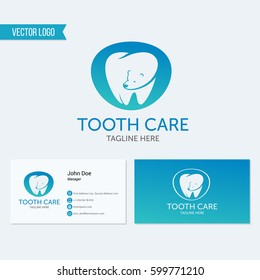 Dental clinic vector logo tooth bear icon