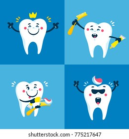 Dental collection for your design. Vector Illustrations for children dentistry and kids about toothache, care and treatment