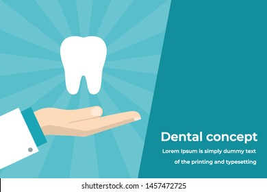 Dental Concept. Doctor's Hand Holding Tooth . Flat Vector Illustration on a Shiny Background, Suitable for medical Websites, Banners and etc.