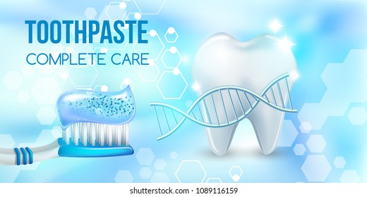 Dental concept .Healthy Tooth.Oral health ads.Blue plastic toothbrush with toothpaste.3D, realistic,dna structure, Dental design element for advertising, brochures and educational literature,vector