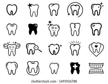 Dental, Dentist icon set vector, Tooth symbol collection design, black and white background