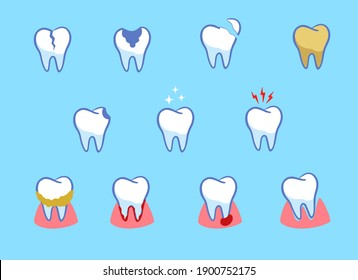 Dental diseases set. Teeth problems, different injuries. Infographics in dentistry. Collection of icons. cartoon style