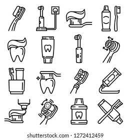 Dental electric toothbrush icons set. Line set of dental electric toothbrush vector icons for web design isolated on white background