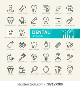 Dental elements - minimal thin line web icon set. Outline icons collection. Simple vector illustration.