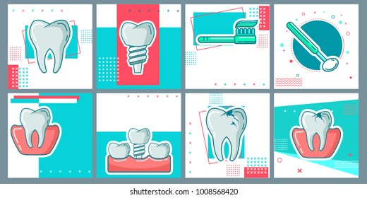Dental Flat Icons Set in Circles. Vector Illustration for Dentistry and Orthodontics