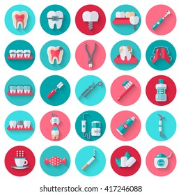 Dental Flat Icons Set in Circles. Vector Illustration for Dentistry and Orthodontics. Healthy Tooth, Transparent and Metallic Braces, Retainer, Veneers, Teeth Whitening, Cavity and Plaque