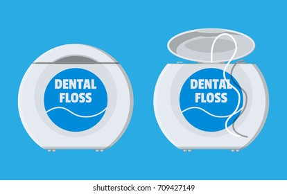 Dental floss in box. Plastic container with thread for tooth. Oralcare equipment. Vector illustration in flat style