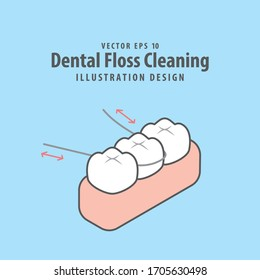 Dental floss cleaning of teeth illustration vector design on blue background. Dental care concept.