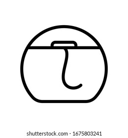 Dental floss icon. Line art logo of teeth floss in round case. Black simple illustration of oral care. Contour isolated vector image on white background