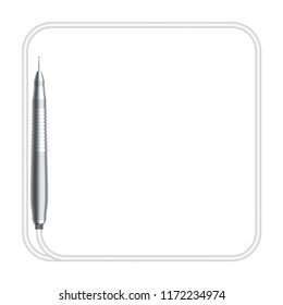 Dental handpieces instrument and rounded square shape frame made from cable, illustration 3D virtual design isolated on white background, with copy space