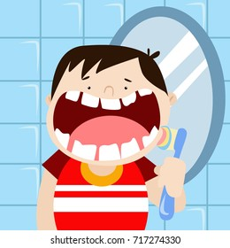 Dental health campaign for kid.  Kid with bad teeth problem