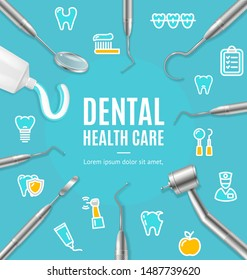 Dental Health Care Concept Banner Card with Realistic 3d Detailed Elements. Vector illustration of Clinic Ad
