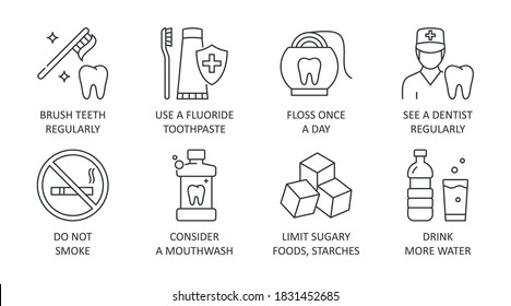 Dental health icons. 8 tips healthy teeth editable stroke. Brush teeth regularly fluoride toothpaste floss once a day see a dentist regularly. Don't smoke mouthwash limit sugary foods drink more water