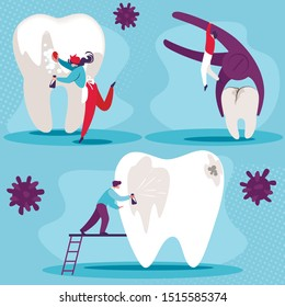 Dental Health Set. Cleaning Oral Cavity, Treatment and Removal Diseased Tooth. Little People Take Care of Huge Teeth. Prevention Dentistry. Stomatology Professionals. Cartoon Flat Vector Illustration