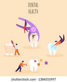 Dental Health Vector Illustration, Lettering. Cleaning Oral Cavity, Treatment and Removal Diseased Teeth. Little People Take Care their Teeth. Prevention Dentistry. Flat Banner Cartoon.